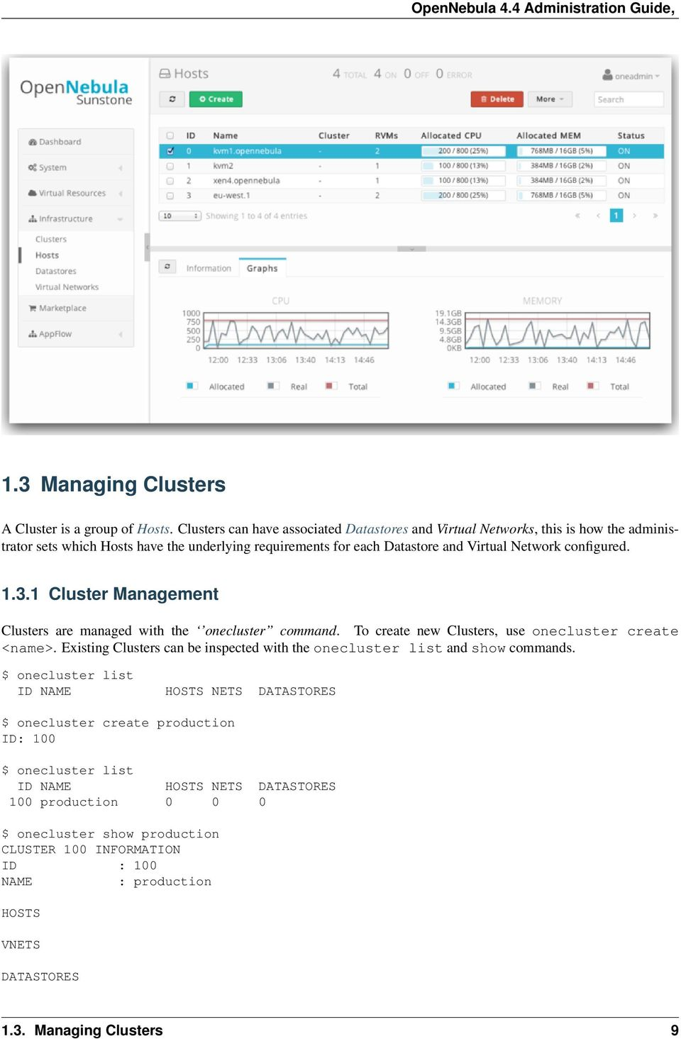 configured. 1.3.1 Cluster Management Clusters are managed with the onecluster command. To create new Clusters, use onecluster create <name>.
