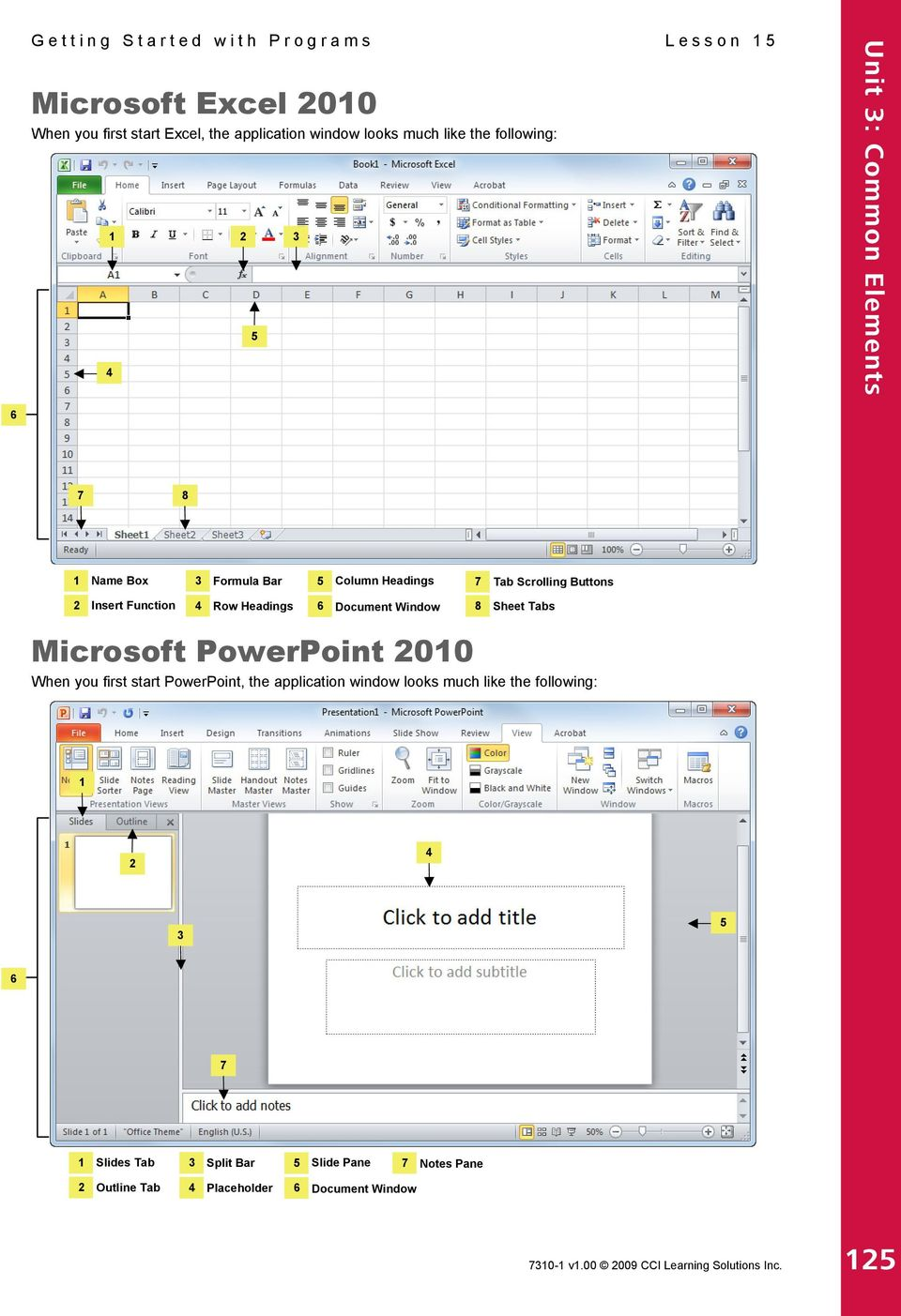 Window 8 Sheet Tabs Microsoft PowerPoint 2010 When you first start PowerPoint, the application window looks much like the following: 1 2 4 3 5 6 7