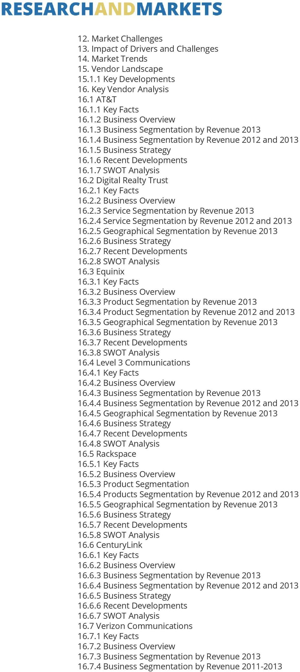 2.2 Business Overview 16.2.3 Service Segmentation by Revenue 2013 16.2.4 Service Segmentation by Revenue 2012 and 2013 16.2.5 Geographical Segmentation by Revenue 2013 16.2.6 Business Strategy 16.2.7 Recent Developments 16.