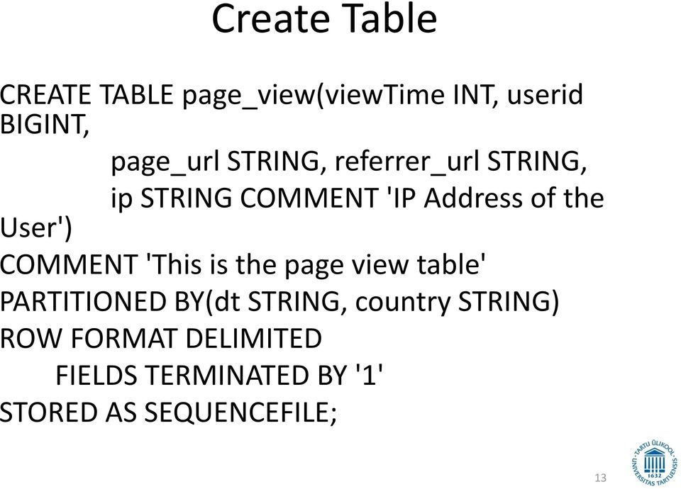 COMMENT 'This is the page view table' PARTITIONED BY(dt STRING, country