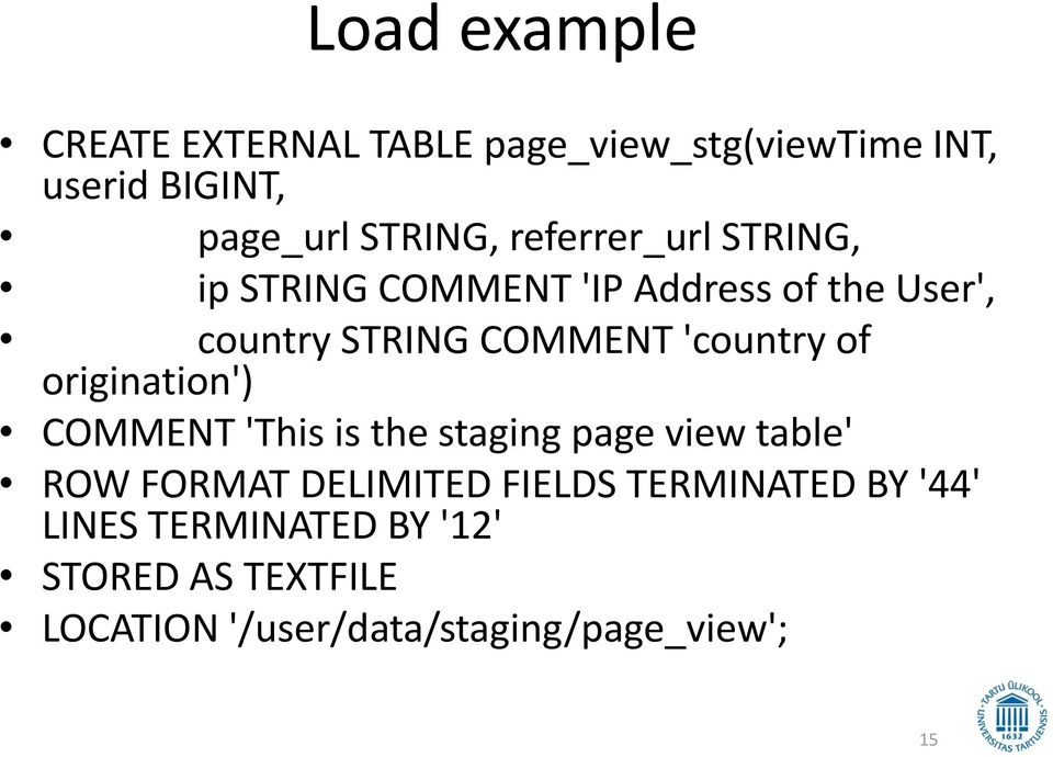 of origination') COMMENT 'This is the staging page view table' ROW FORMAT DELIMITED FIELDS