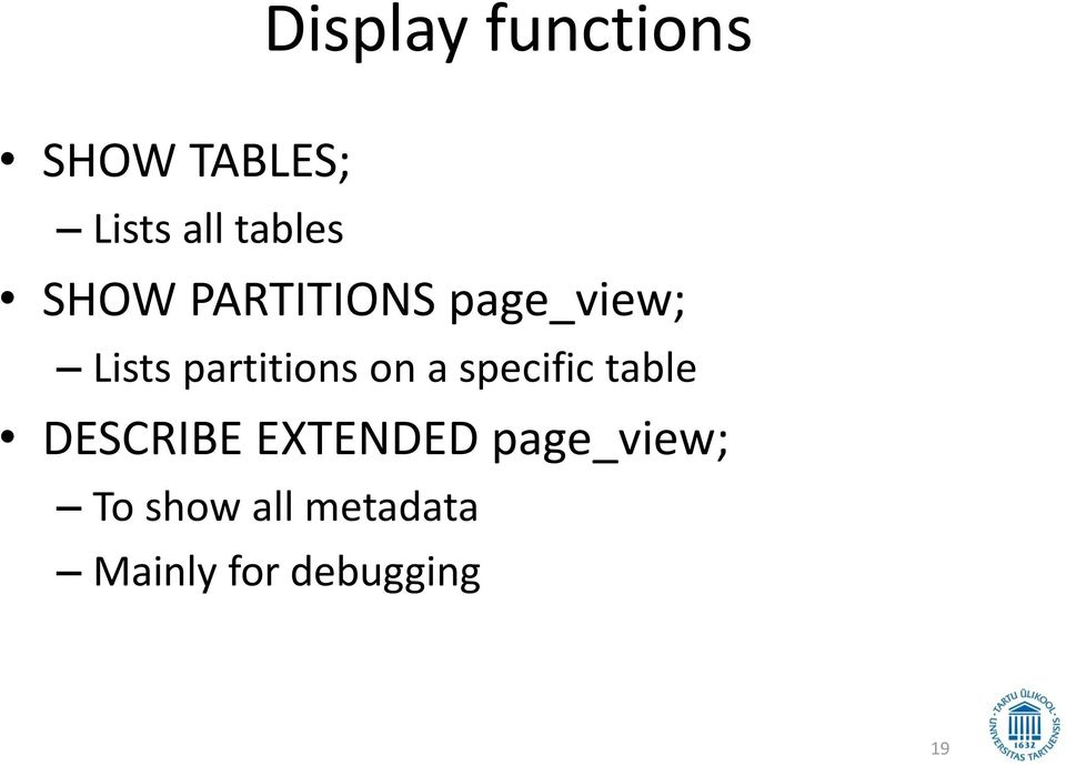 partitions on a specific table DESCRIBE