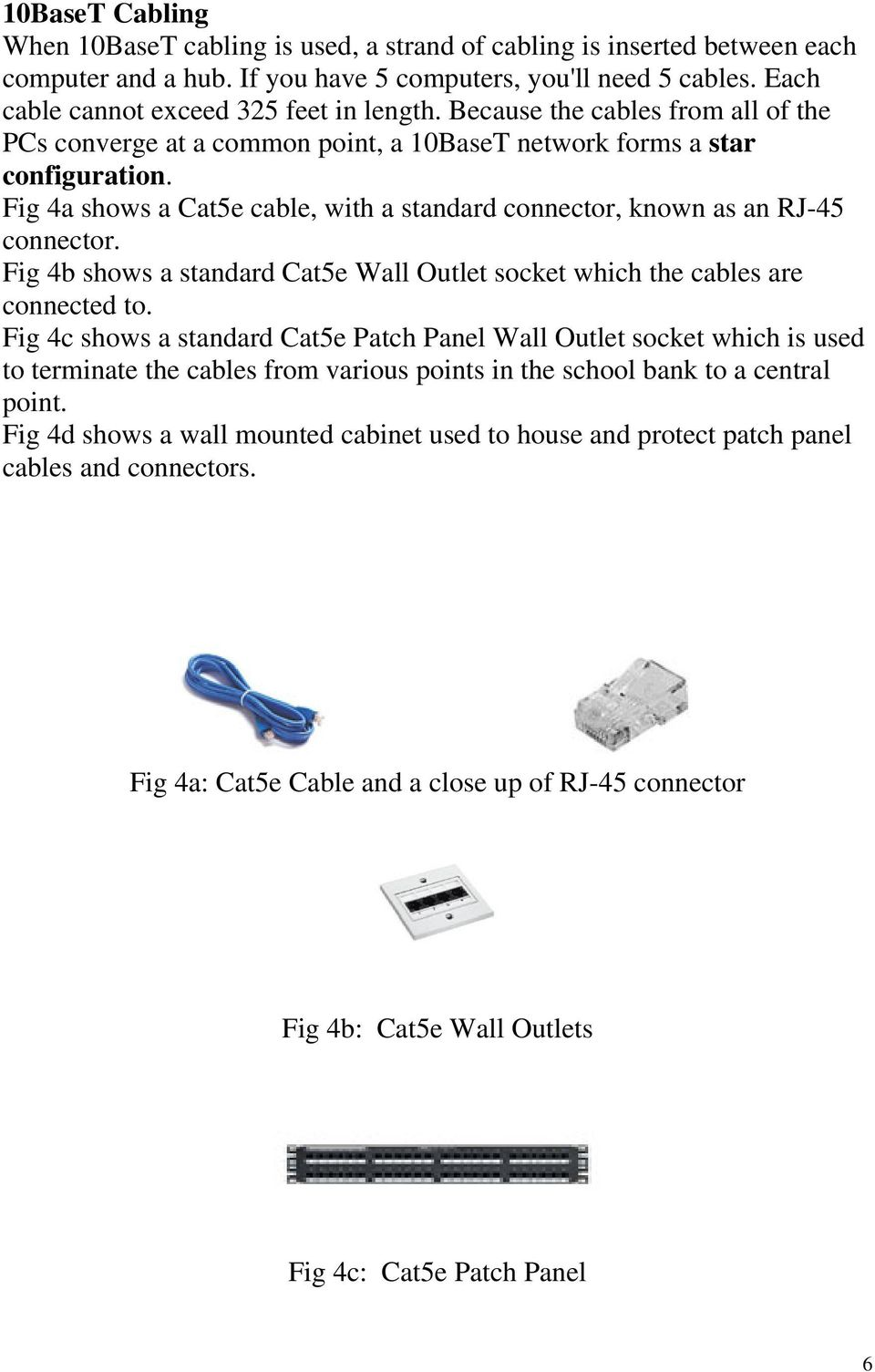 Fig 4a shows a Cat5e cable, with a standard connector, known as an RJ-45 connector. Fig 4b shows a standard Cat5e Wall Outlet socket which the cables are connected to.