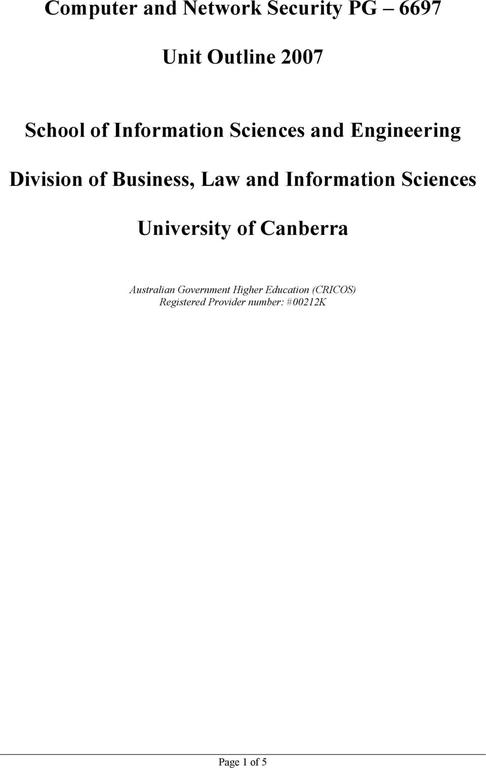 Information Sciences University of Canberra Australian Government