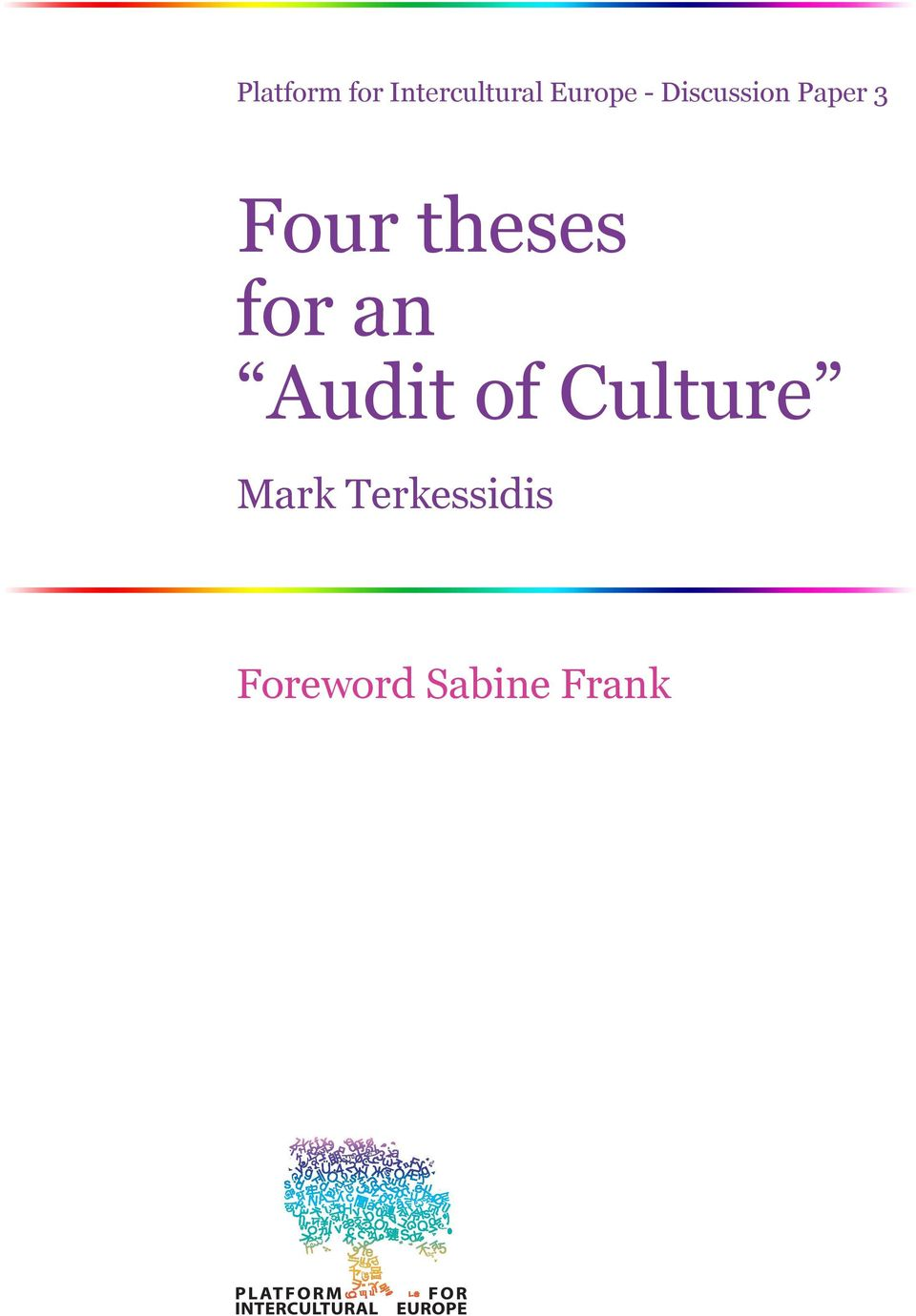 theses for an Audit of Culture