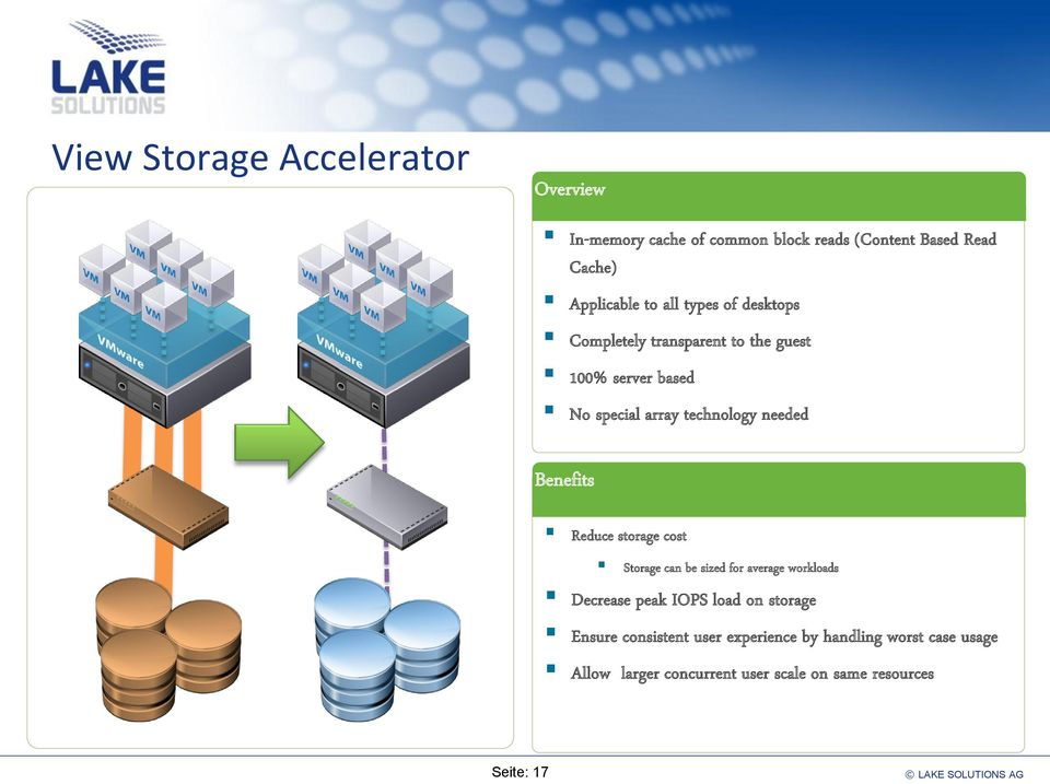 Benefits Reduce storage cost Storage can be sized for average workloads Decrease peak IOPS load on storage Ensure