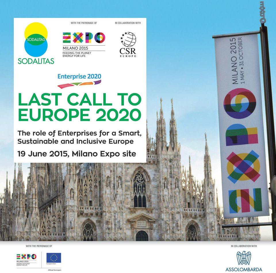 Sustainable and Inclusive Europe 19 June 2015, Milano
