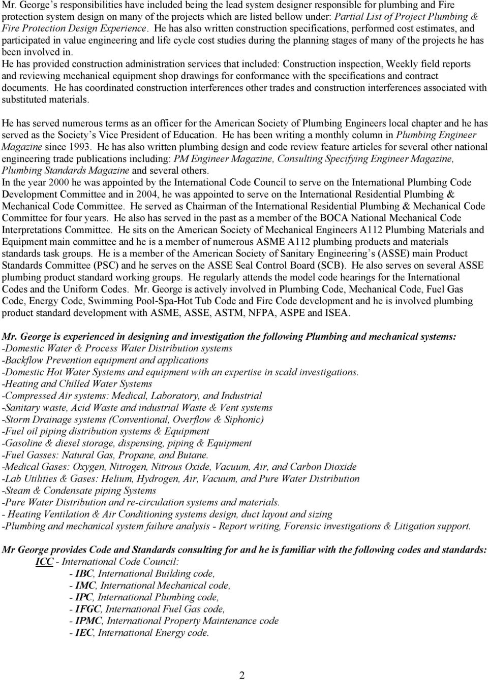 Resume for ronald l george cipe cpd president ron for Uniform swimming pool spa and hot tub code