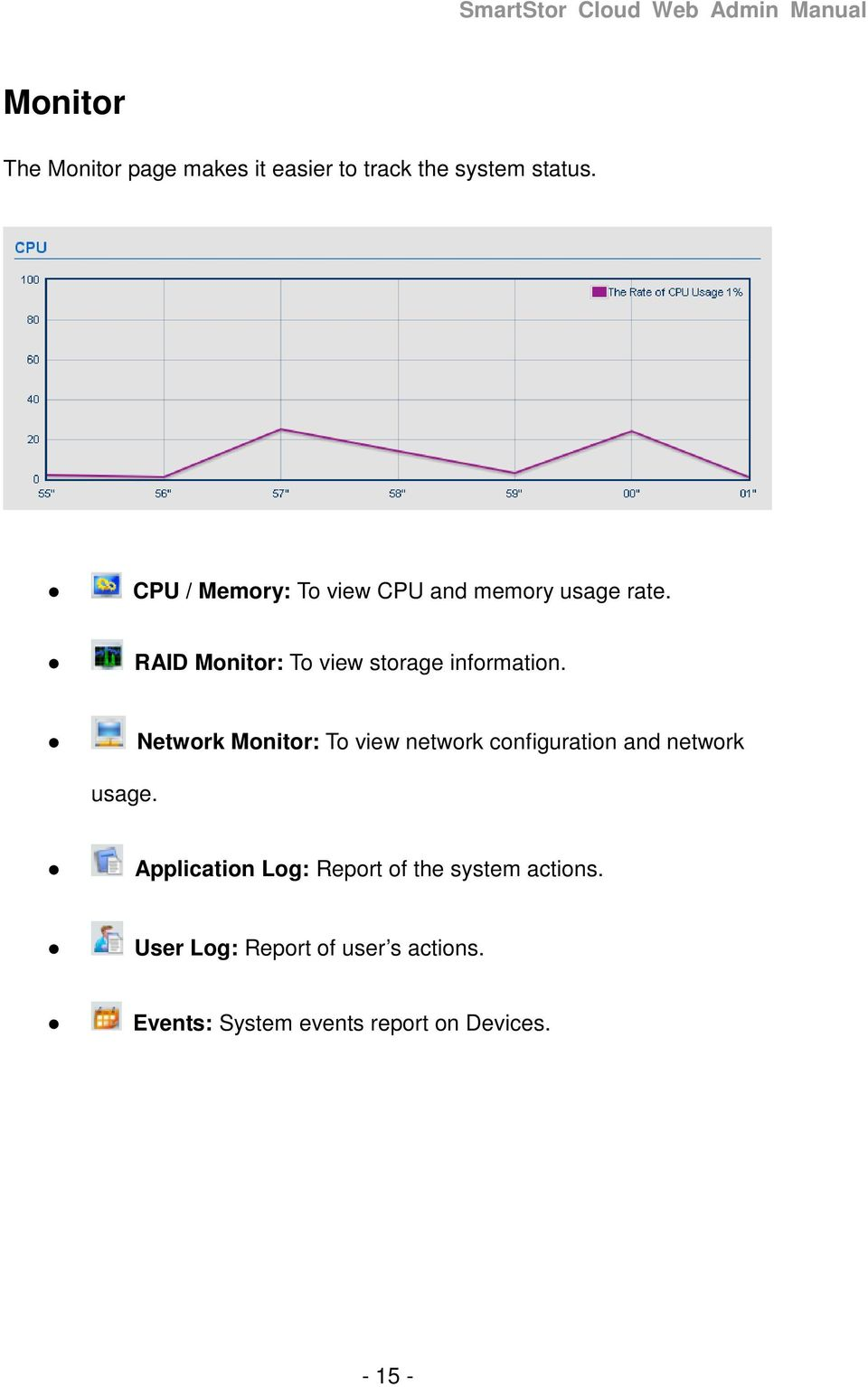 RAID Monitor: To view storage information.