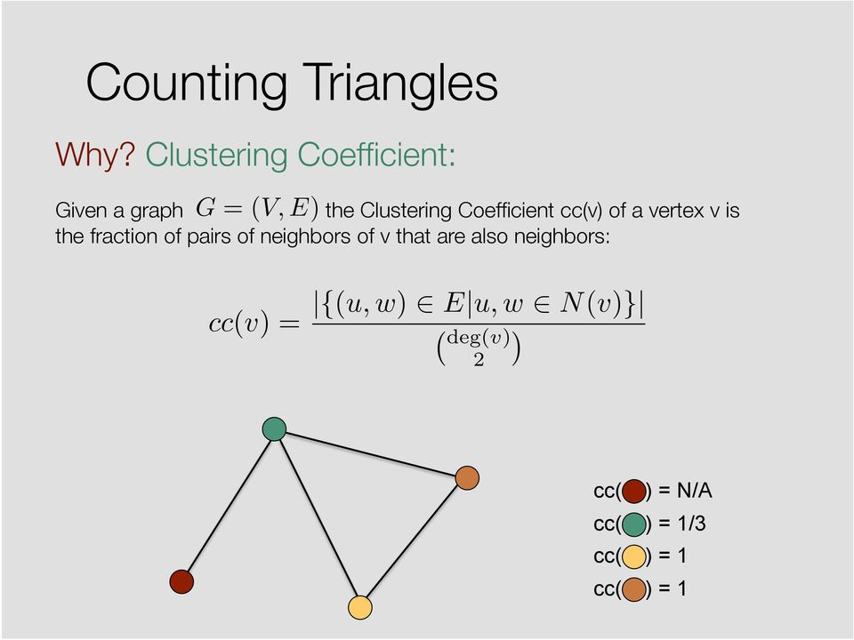 Coefficient cc(v) of a vertex v is the fraction of pairs of