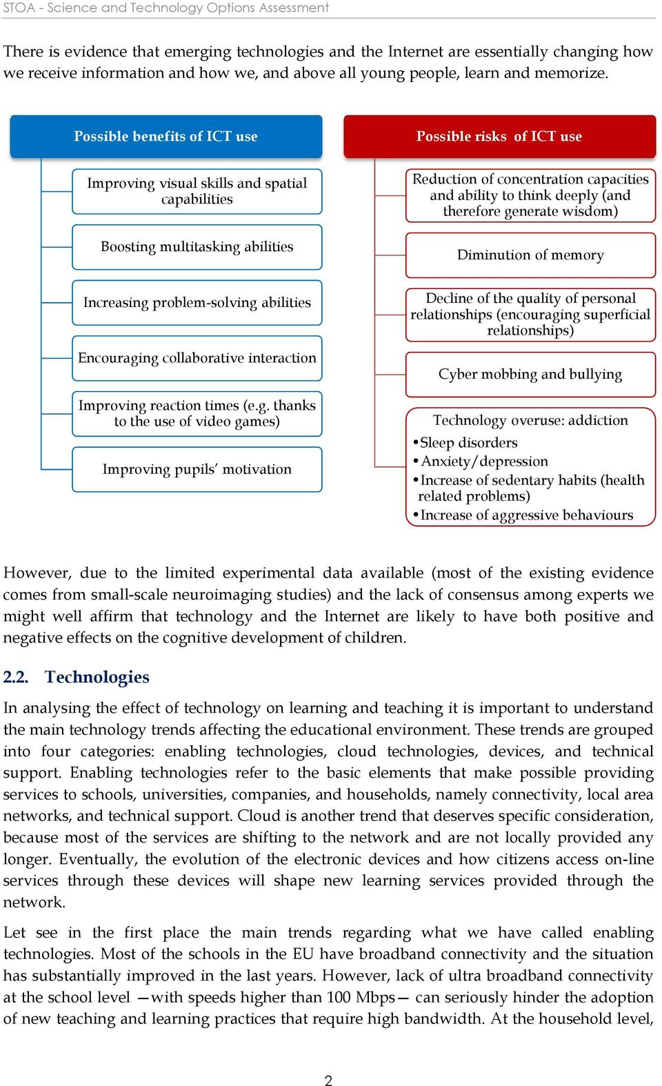 Possible benefits of ICT use Possible risks of ICT use Improving visual skills and spatial capabilities Boosting multitasking abilities Reduction of concentration capacities and ability to think