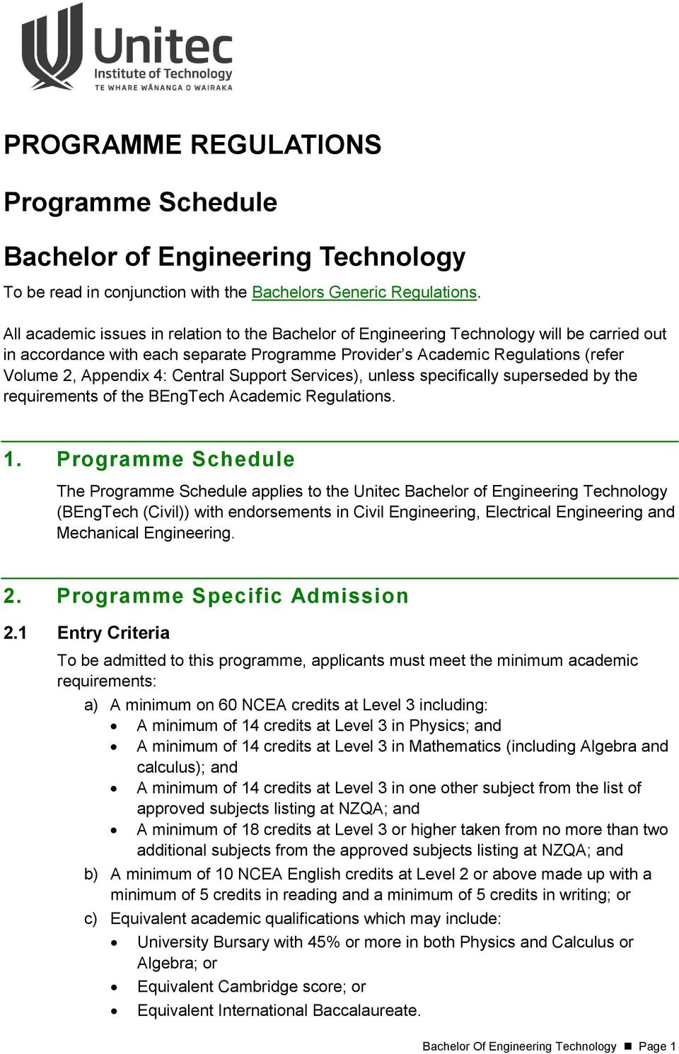 programme regulations. programme schedule. bachelor of engineering