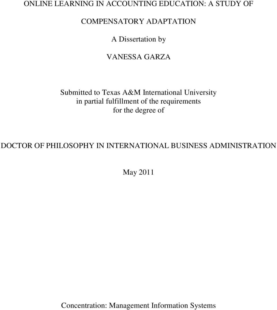 partial fulfillment of the requirements for the degree of DOCTOR OF PHILOSOPHY IN