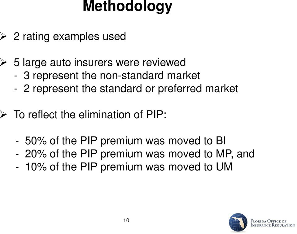 To reflect the elimination of PIP: - 50% of the PIP premium was moved to BI -
