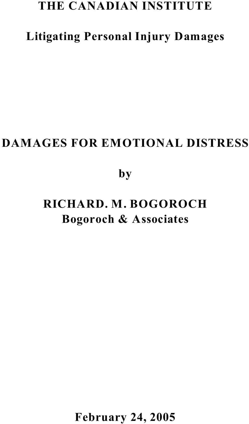 EMOTIONAL DISTRESS by RICHARD. M.