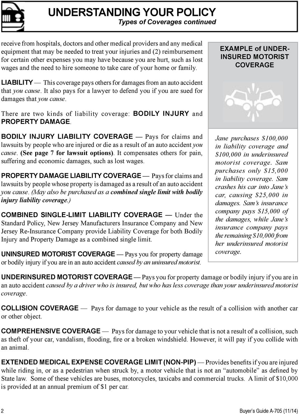 EXAMPLE of UNDER- INSURED MOTORIST COVERAGE Liability This coverage pays others for damages from an auto accident that you cause.