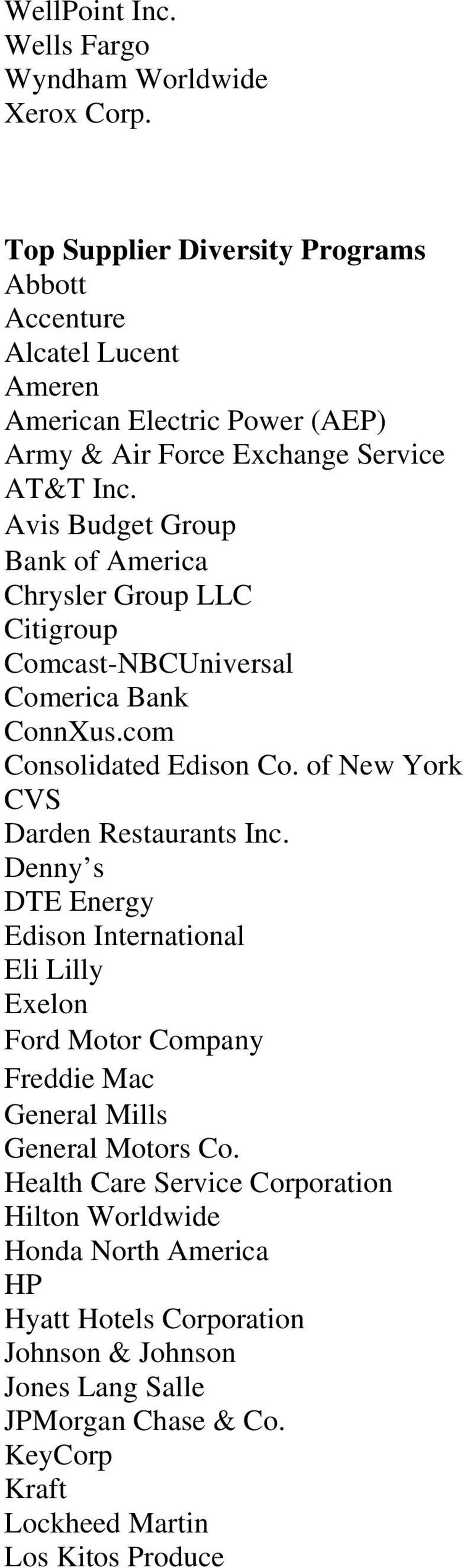 Avis Budget Group Bank of America Chrysler Group LLC Citigroup Comcast-NBCUniversal Comerica Bank ConnXus.com Consolidated Edison Co. of New York CVS Darden Restaurants Inc.