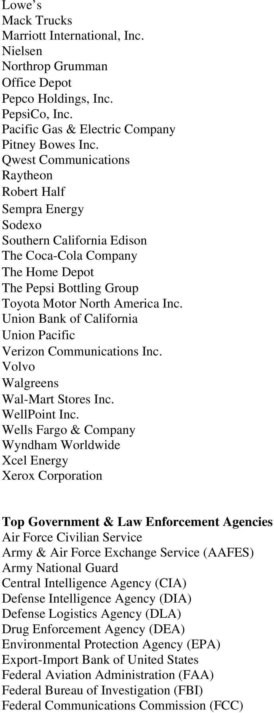 Union Bank of California Union Pacific Verizon Communications Inc. Volvo Walgreens Wal-Mart Stores Inc. WellPoint Inc.