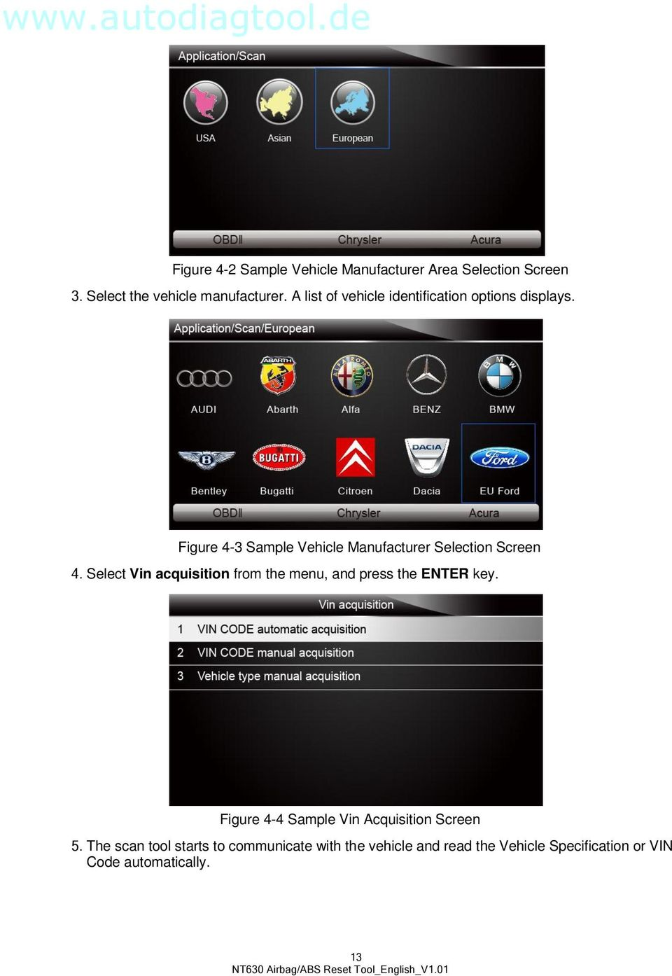 Figure 4-3 Sample Vehicle Manufacturer Selection Screen 4.