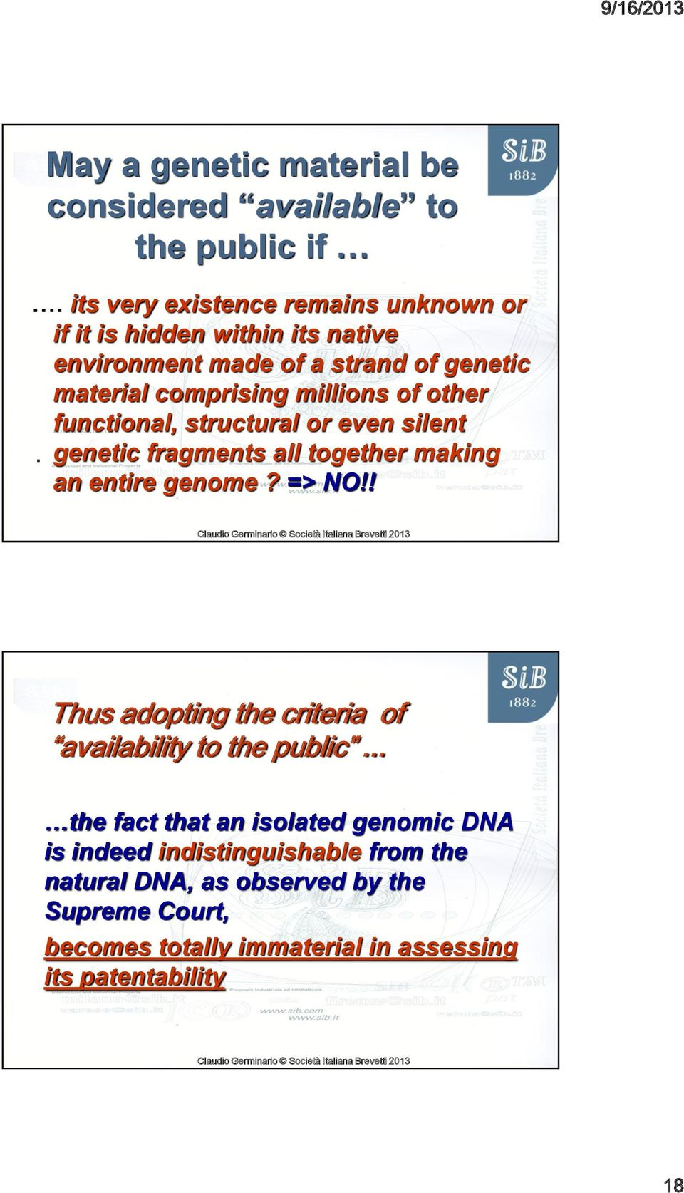 millions of other functional, structural or even silent. genetic fragments all together making an entire genome? => NO!
