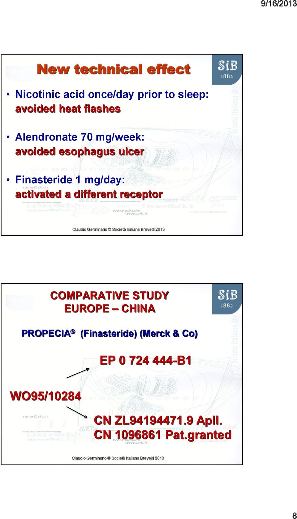 activated a different receptor COMPARATIVE STUDY EUROPE CHINA PROPECIA