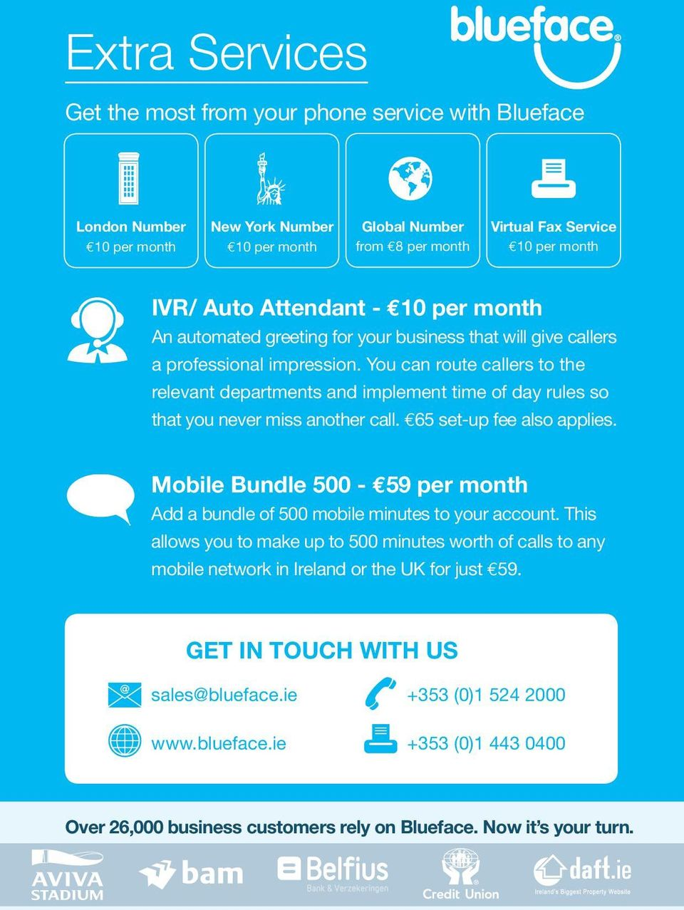 65 set-up fee also applies. Mobile Bundle 500-59 per month Add a bundle of 500 mobile minutes to your account.