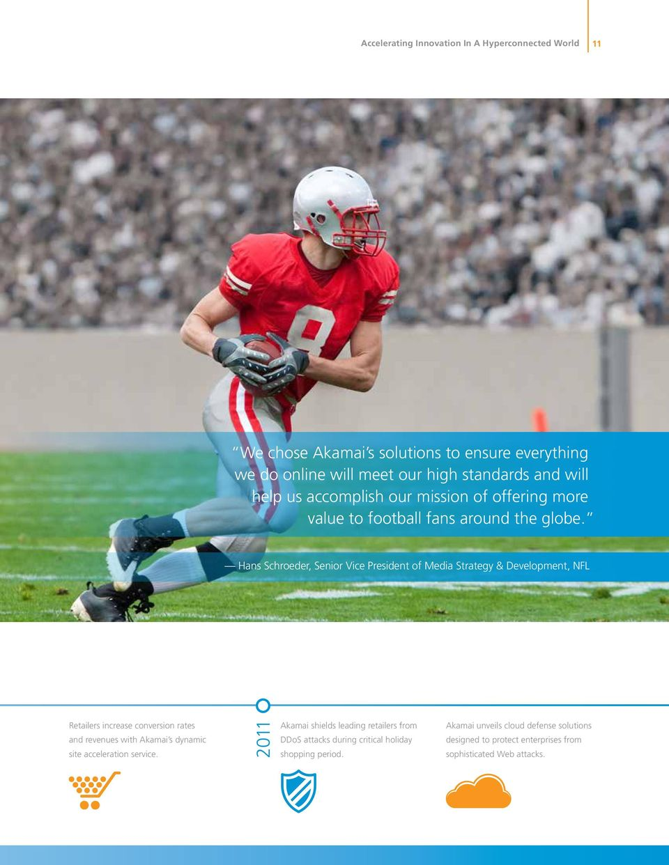 Hans Schroeder, Senior Vice President of Media Strategy & Development, NFL Retailers increase conversion rates and revenues with Akamai s dynamic site