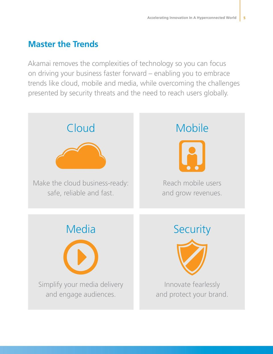 presented by security threats and the need to reach users globally. Cloud Mobile Make the cloud business-ready: safe, reliable and fast.