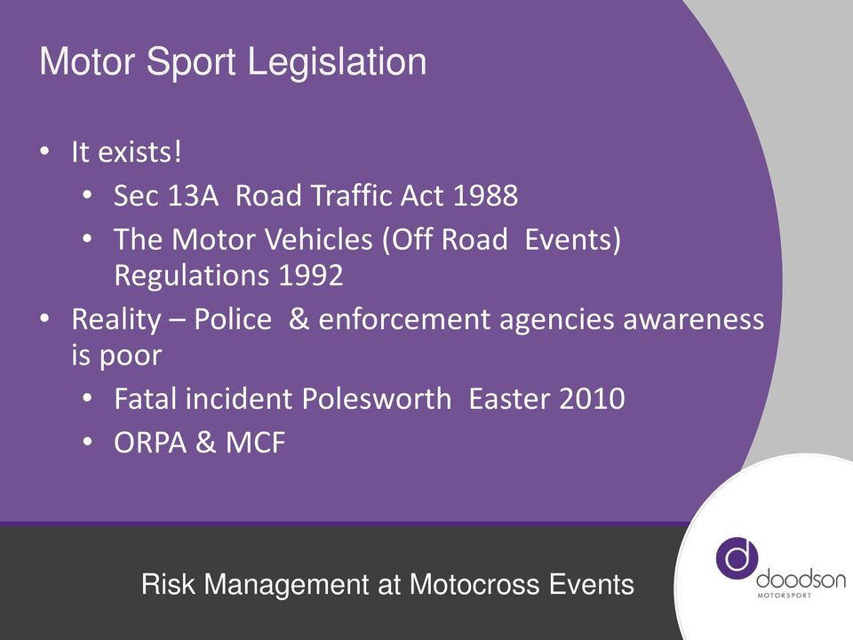 Road Events) Regulations 1992 Reality Police &