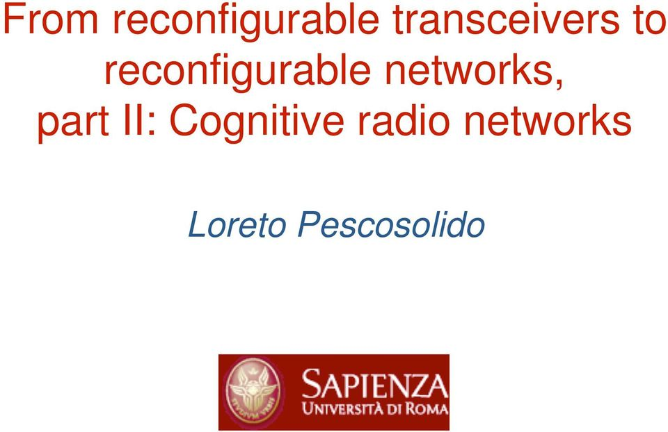 reconfigurable networks,