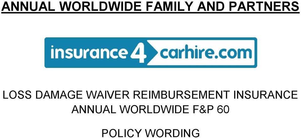 REIMBURSEMENT INSURANCE