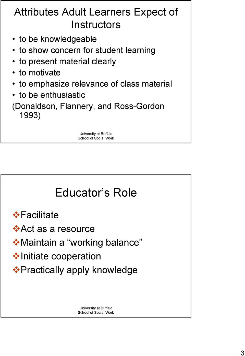 material to be enthusiastic (Donaldson, Flannery, and Ross-Gordon 1993) Educator s Role