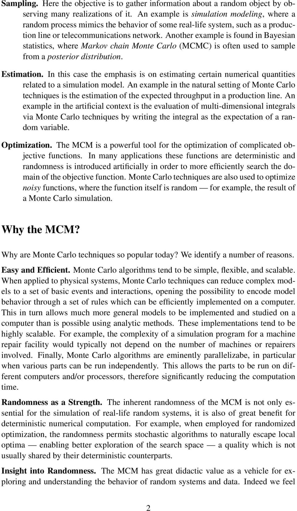Why the Monte Carlo Method is so important today - PDF