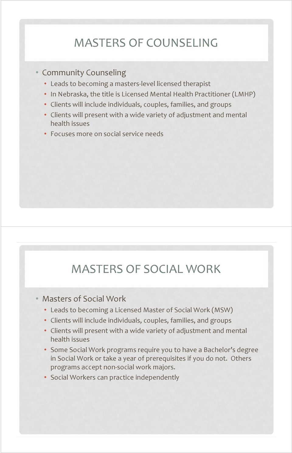 to becoming a Licensed Master of Social Work (MSW) Clients will include individuals, couples, families, and groups Clients will present with a wide variety of adjustment and mental health issues Some