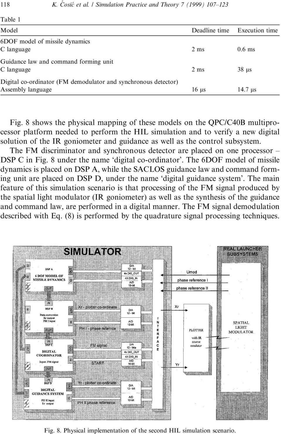8 shows the physical mapping of these models on the QPC/C40B multiprocessor platform needed to perform the HIL simulation and to verify a new digital solution of the IR goniometer and guidance as