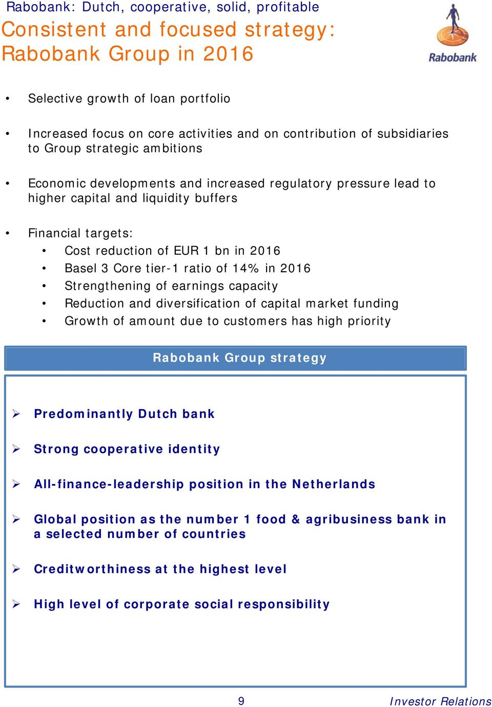 Basel 3 Core tier-1 ratio of 14% in 2016 Strengthening of earnings capacity Reduction and diversification of capital market funding Growth of amount due to customers has high priority Rabobank Group