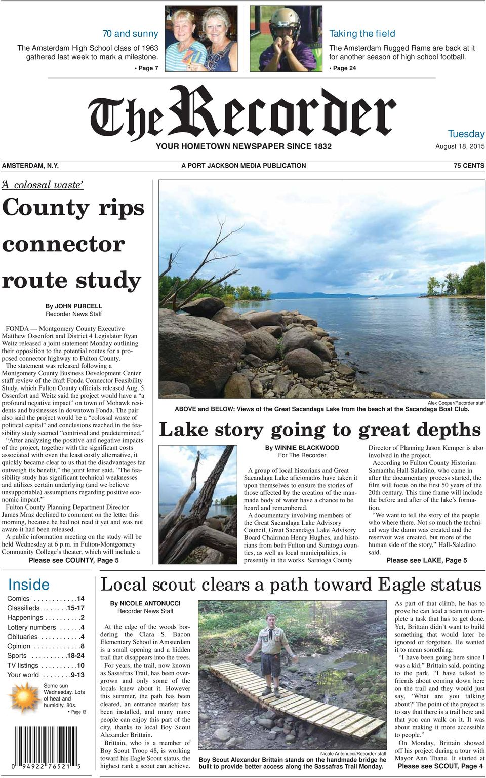 A PORT JACKSON MEDIA PUBLICATION 75 CENTS A colossal waste County rips connector route study By JOHN PURCELL Recorder News Staff FONDA Montgomery County Executive Matthew Ossenfort and District 4