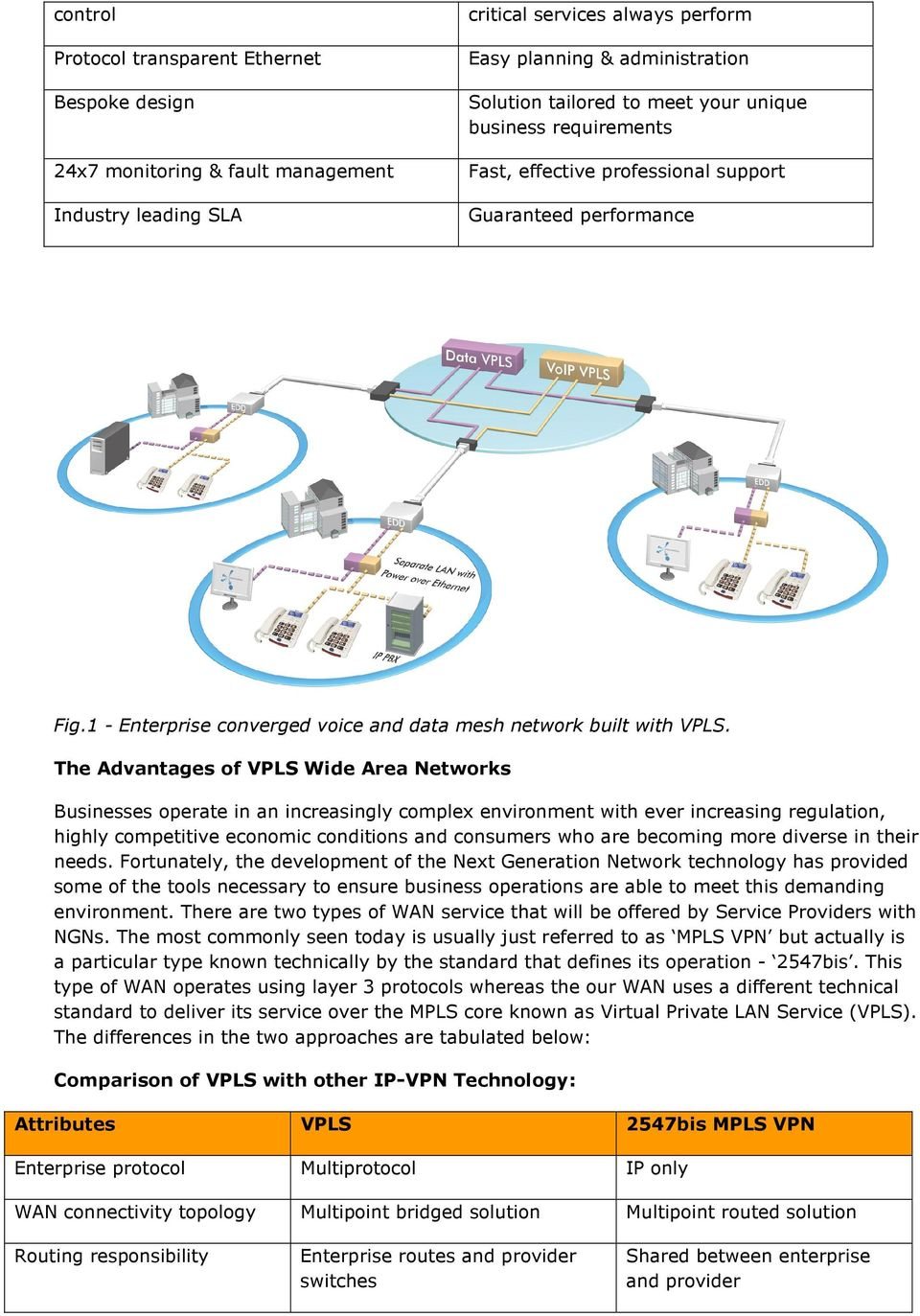 The Advantages of VPLS Wide Area Networks Businesses operate in an increasingly complex environment with ever increasing regulation, highly competitive economic conditions and consumers who are