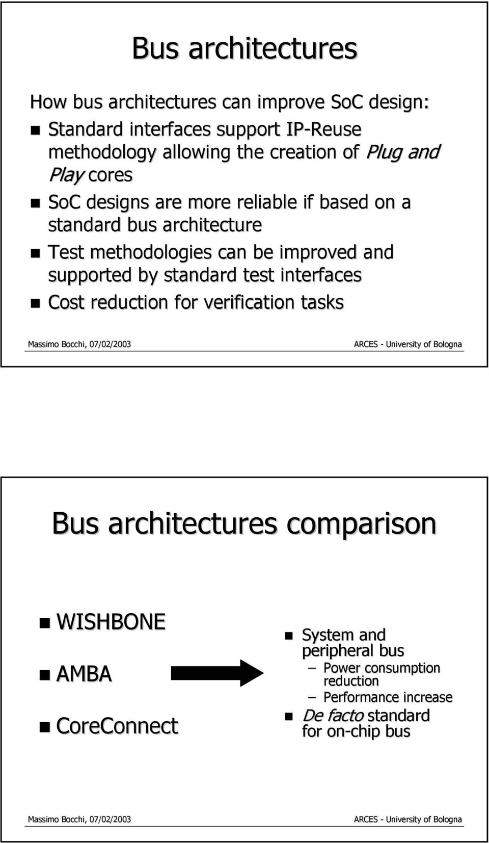 be improved and supported by standard test interfaces Cost reduction for verification tasks Bus architectures comparison