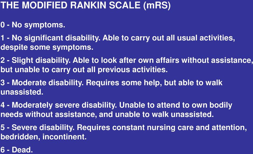 Able to look after own affairs without assistance, but unable to carry out all previous activities. 3 - Moderate disability.