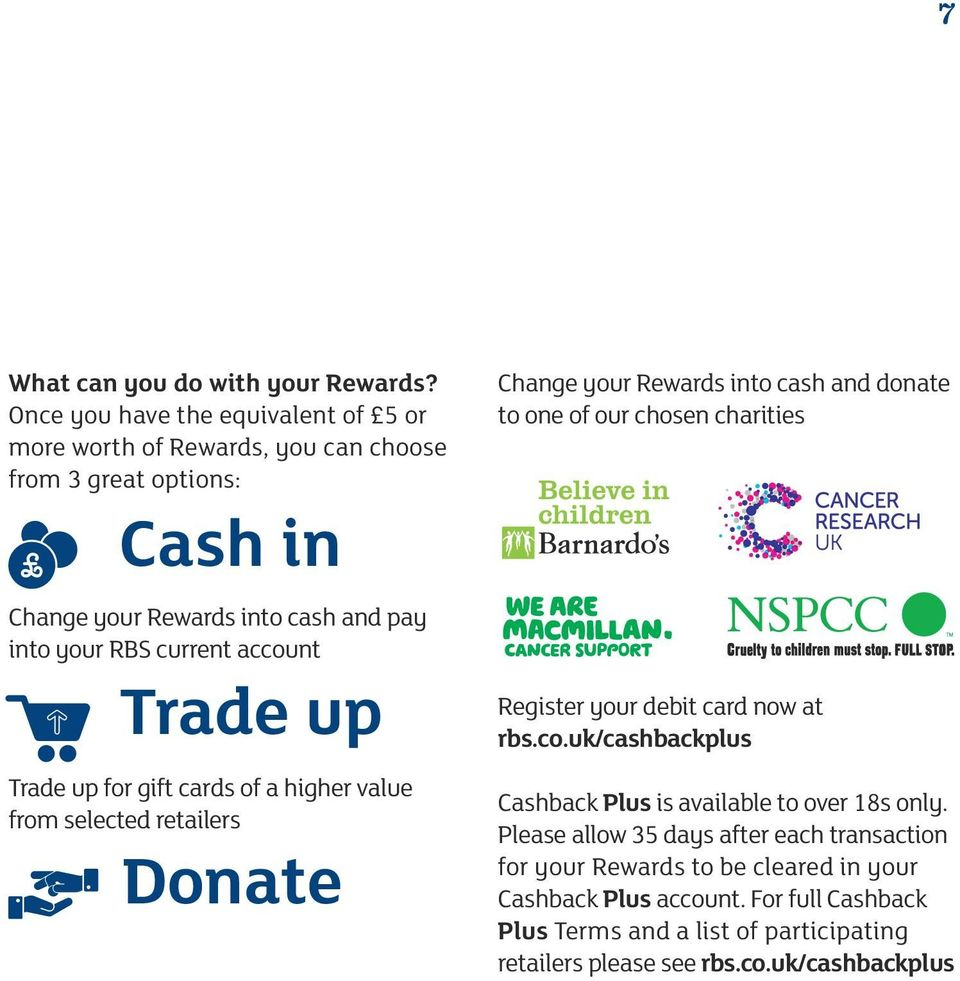 account Trade up Trade up for gift cards of a higher value from selected retailers Donate Change your Rewards into cash and donate to one of our chosen charities