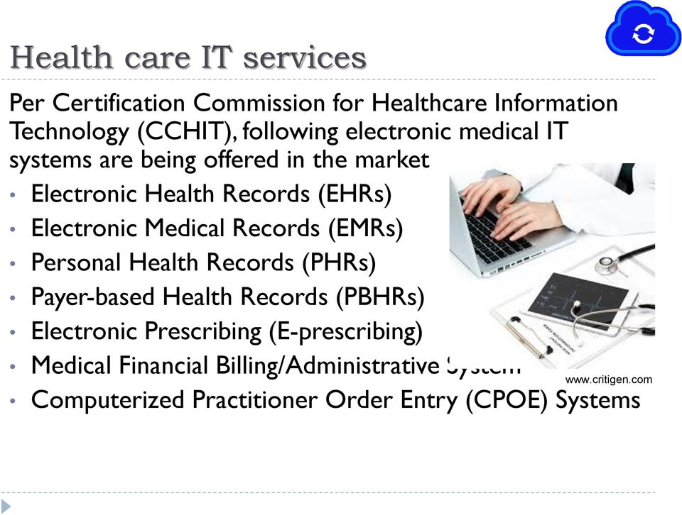 Records (EMRs) Personal Health Records (PHRs) Payer-based Health Records (PBHRs) Electronic Prescribing