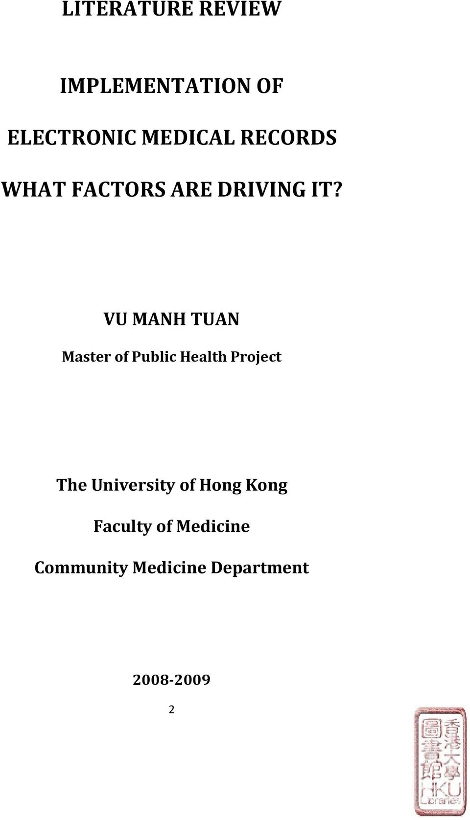 VU MANH TUAN Master of Public Health Project The