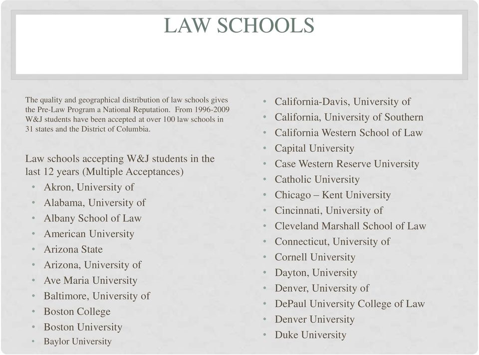 Law schools accepting W&J students in the last 12 years (Multiple Acceptances) Akron, University of Alabama, University of Albany School of Law American University Arizona State Arizona, University