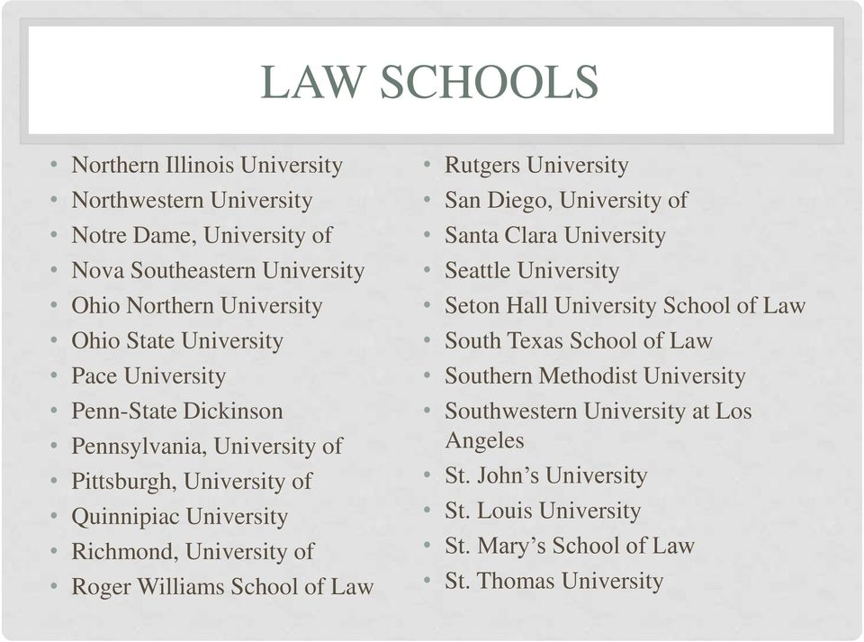 Williams School of Law Rutgers University San Diego, University of Santa Clara University Seattle University Seton Hall University School of Law South Texas