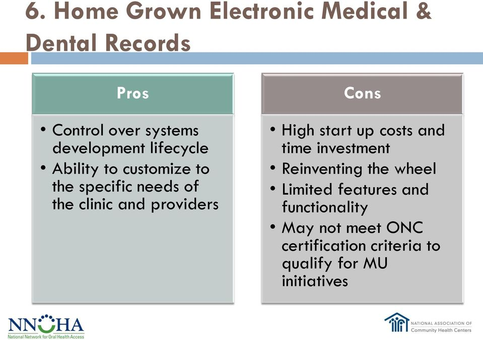 providers Cons High start up costs and time investment Reinventing the wheel Limited