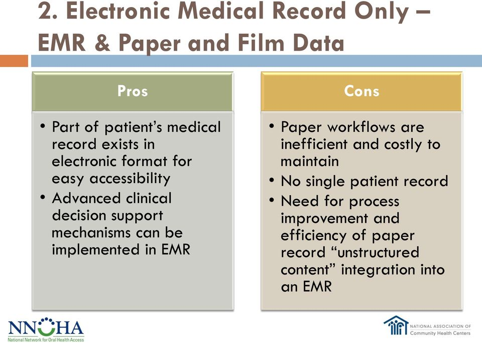 be implemented in EMR Cons Paper workflows are inefficient and costly to maintain No single patient
