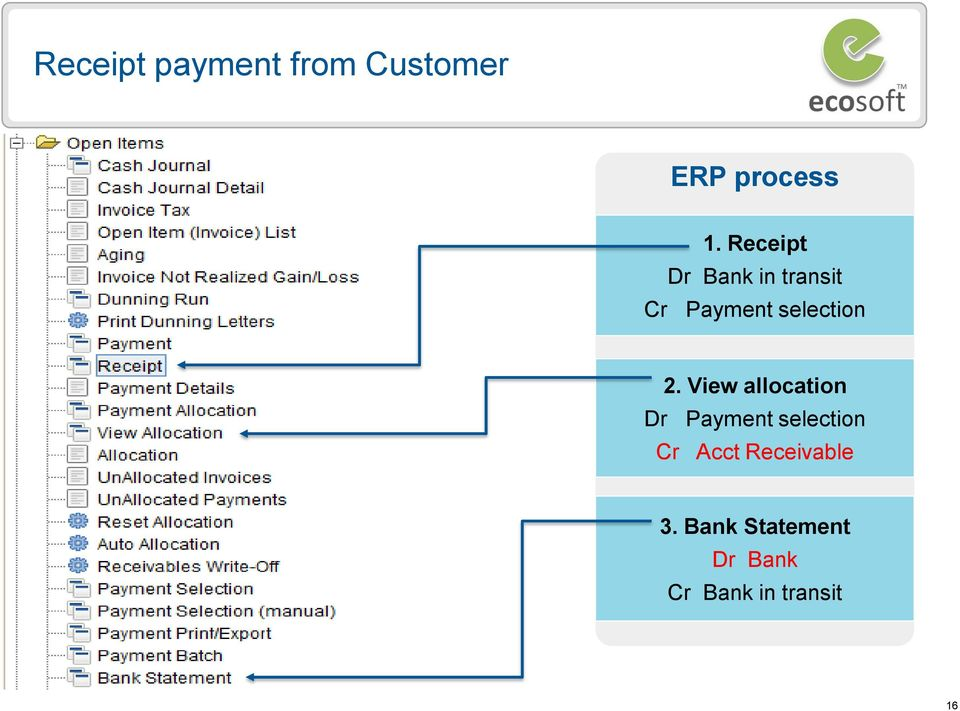 View allocation Dr Payment selection Cr Acct