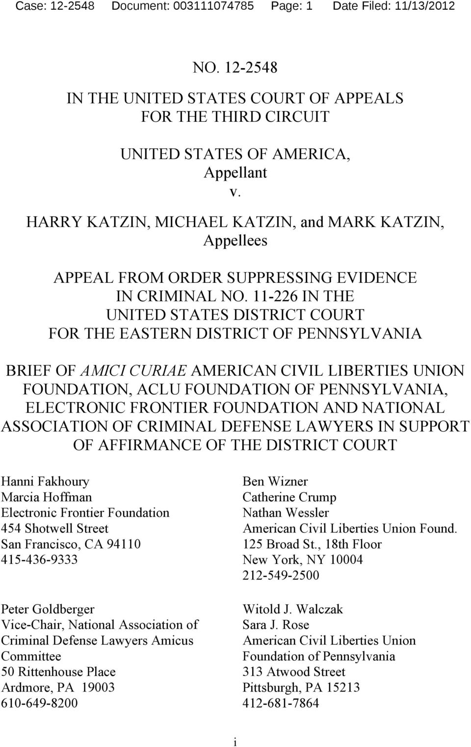 HARRY KATZIN, MICHAEL KATZIN, and MARK KATZIN, Appellees APPEAL FROM ORDER SUPPRESSING EVIDENCE IN CRIMINAL NO.