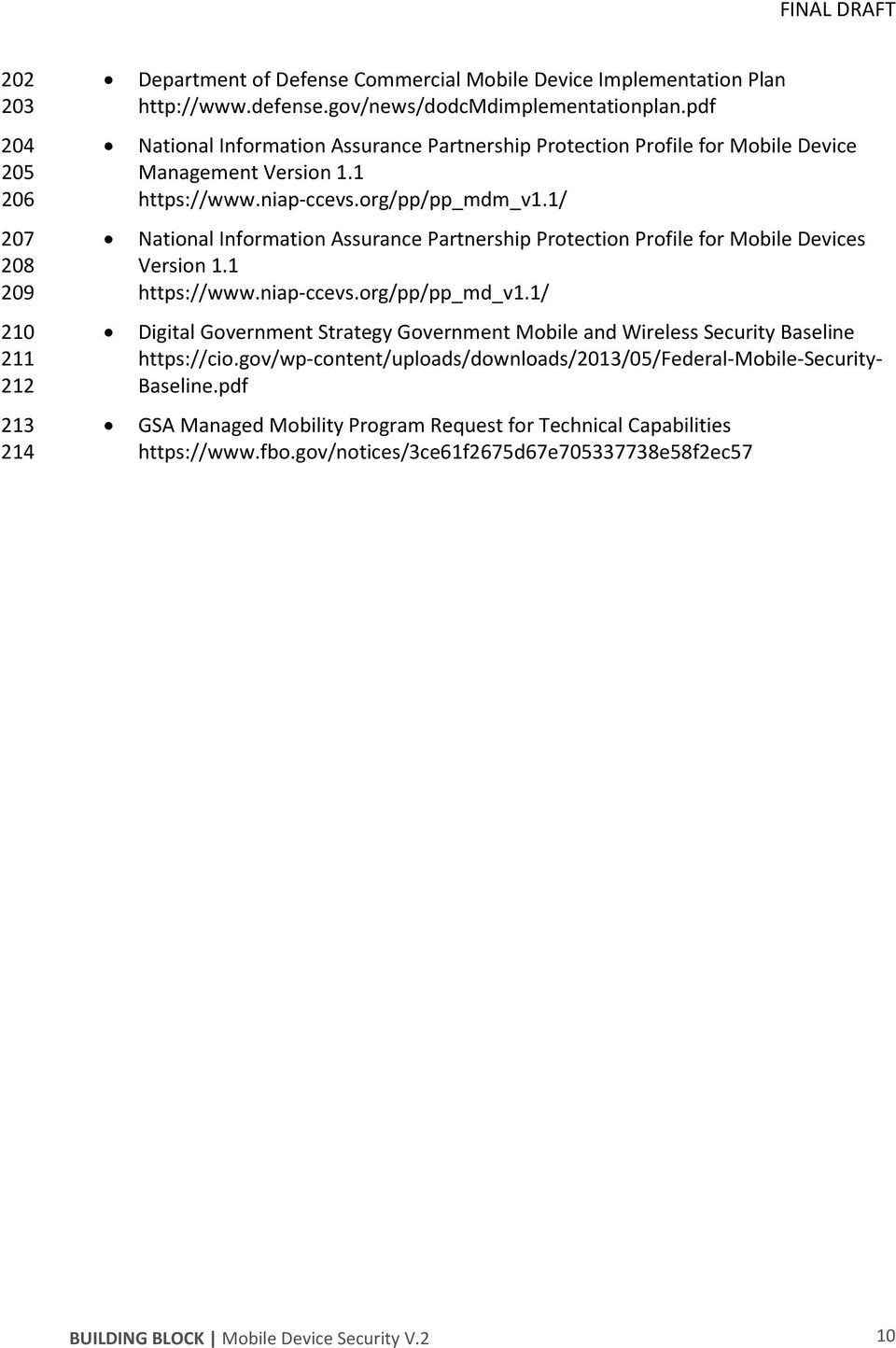 1/ National Information Assurance Partnership Protection Profile for Mobile Devices Version 1.1 https://www.niap-ccevs.org/pp/pp_md_v1.